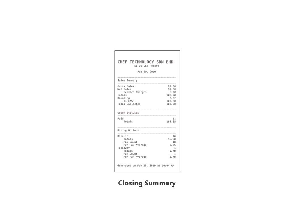 CT F&B POS | CLOSING SUMMARY LAYOUT